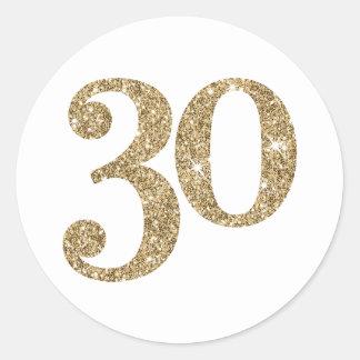 Scintillement moderne de l'or 30 de GRAND NOMBRE Sticker Rond