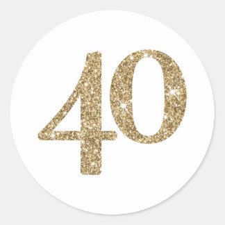 Scintillement moderne de l'or 40 de GRAND NOMBRE Sticker Rond