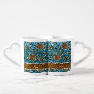 Scintillement nommé fait sur commande de bleu de mugs amoureux