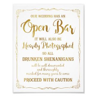 Scintillement ouvert d'or de signe de mariage de photo d'art