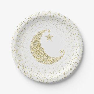 Scintillement peu de blanc de lune d'or d'étoile assiettes en papier