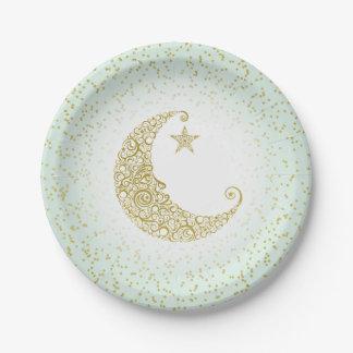 Scintillement peu de menthe de lune d'or d'étoile assiettes en papier