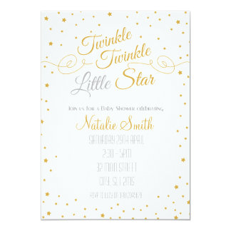 Scintillement peu d'or de baby shower d'invitation carton d'invitation  12,7 cm x 17,78 cm