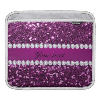 Scintillement pourpre et diamants de Faux Housse iPad