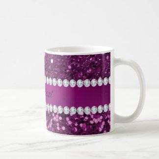 Scintillement pourpre et diamants de Faux Mug