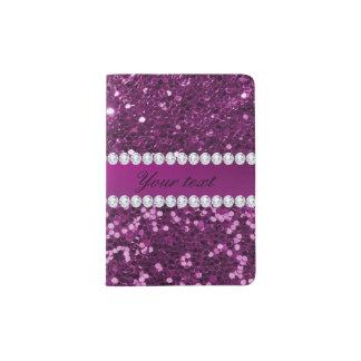 Scintillement pourpre et diamants de Faux Protège-passeport