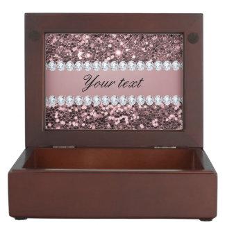 Scintillement rose à la mode et diamants de Faux Boîte À Souvenirs