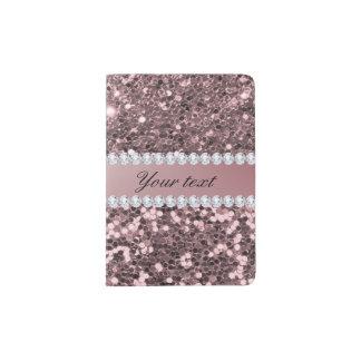 Scintillement rose à la mode et diamants de Faux Protège-passeport