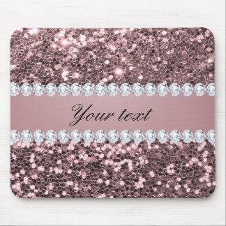Scintillement rose à la mode et diamants de Faux Tapis De Souris