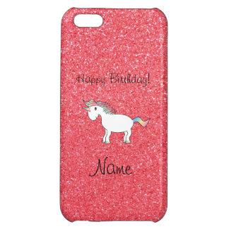 Scintillement rose-clair de licorne nommée d'anniv étuis iPhone 5C
