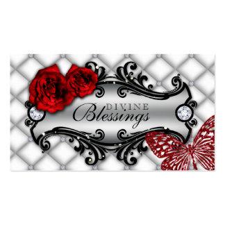 Scintillement rose de papillon de bijoux de mode carte de visite standard