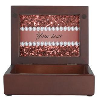 Scintillement rose et diamants de Faux d'or Boîtes À Souvenirs