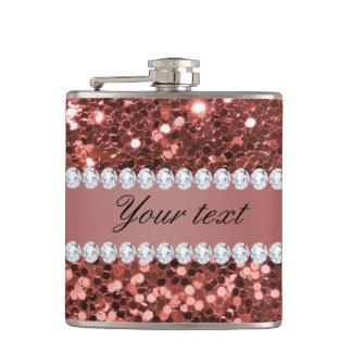 Scintillement rose et diamants de Faux d'or Flasques