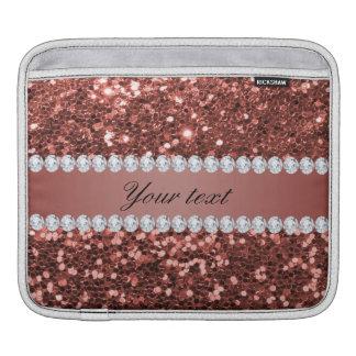 Scintillement rose et diamants de Faux d'or Housse Pour iPad