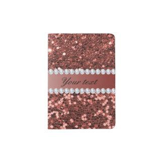 Scintillement rose et diamants de Faux d'or Protège-passeport