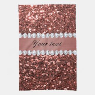Scintillement rose et diamants de Faux d'or Serviettes Éponge