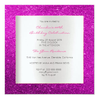 Scintillement rose lumineux d'anniversaire minimal carton d'invitation  13,33 cm