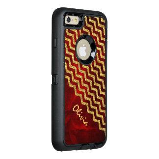 Scintillement rouge Chevron de Faux d'or Coque OtterBox iPhone 6 Et 6s Plus