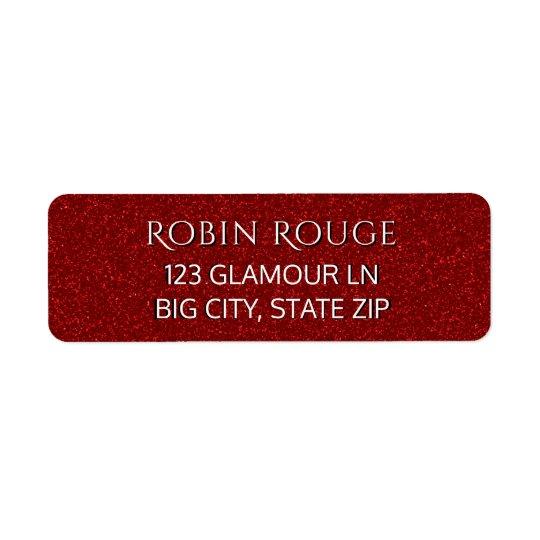 Scintillement rouge de Faux fascinant Luxe chic Étiquettes D'adresse Retour