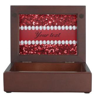 Scintillement rouge et diamants de Faux Boîtes À Souvenirs