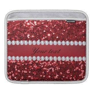 Scintillement rouge et diamants de Faux Housse Pour iPad