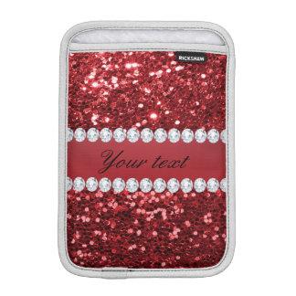 Scintillement rouge et diamants de Faux Housse Pour iPad Mini