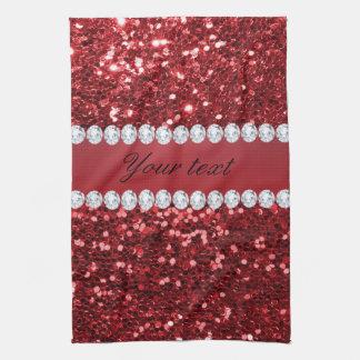 Scintillement rouge et diamants de Faux Serviettes Pour Les Mains