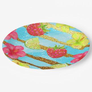Scintillement tropical d'été assiettes en papier