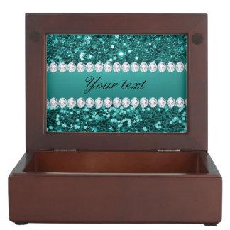 Scintillement turquoise chic et diamants de Faux Boîtes À Souvenirs