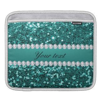 Scintillement turquoise chic et diamants de Faux Housse Pour iPad