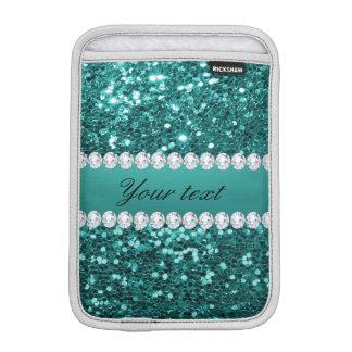 Scintillement turquoise chic et diamants de Faux Housse Pour iPad Mini