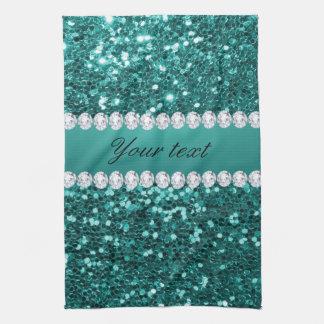 Scintillement turquoise chic et diamants de Faux Linges De Cuisine
