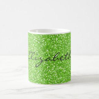 Scintillement vert au néon vibrant à la mode frais mug