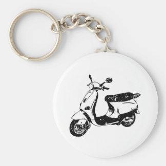 Scooter noir porte-clé rond