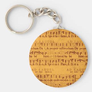 Score grégorien de musique de chant porte-clés