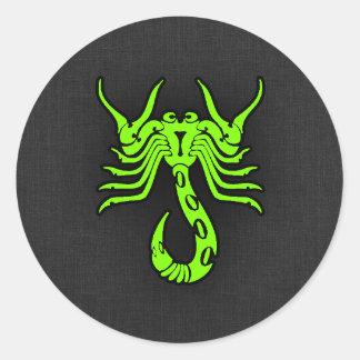 Scorpion vert Chartreuse et au néon Sticker Rond