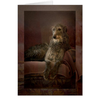 Scottish deerhound on a sofa carte de vœux