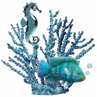 Sculpture bleue en récif coralien photo sculpture