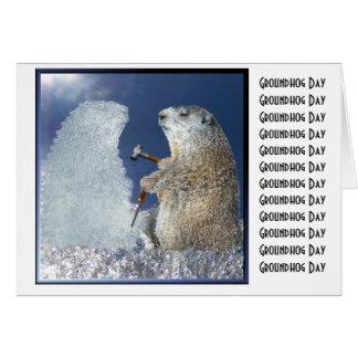 Sculpture en glace de jour de Groundhog Carte De Vœux