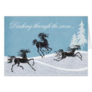 Se précipiter par la carte de vacances de cheval