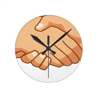 Se serrer la main horloge ronde