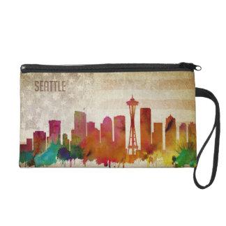 Seattle, horizon de ville d'aquarelle de WA | Pochettes Avec Dragonne