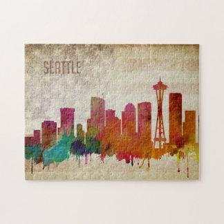 Seattle, horizon de ville d'aquarelle de WA | Puzzles