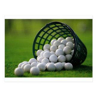 Seau de boules de golf carte postale