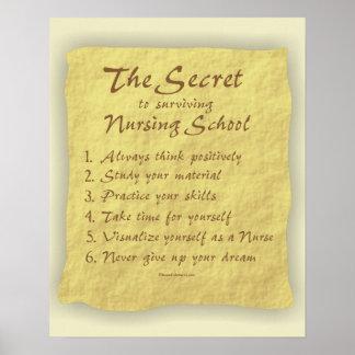 Secret à la colle survivante d'école d'infirmières posters