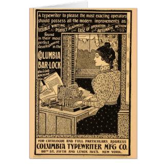 secrétaire de 1890's à la machine à écrire carte de vœux