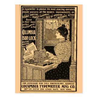 secrétaire de 1890's à la machine à écrire carte postale