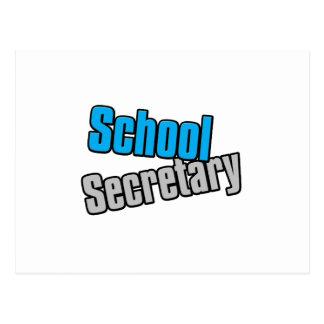 Secrétaire d'école avec la copie bleue et grise carte postale