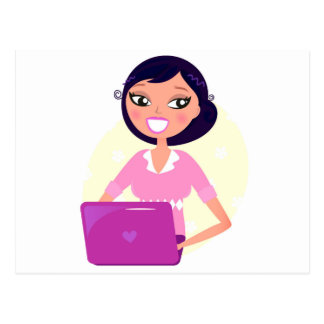 Secrétaire extraordinaire fille avec l'ordinateur carte postale