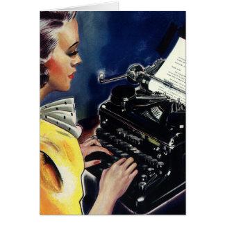 Secrétaire vintage Typing Letter de cadre Carte De Vœux